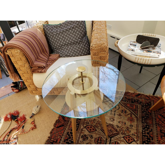 """1960s Mid Century Modern Brass Cocktail """"Cigarette"""" Table For Sale - Image 12 of 12"""