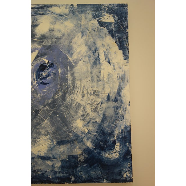 """Acrylic Paint """"The Eye"""" Blue & White Abstract Painting For Sale - Image 7 of 8"""