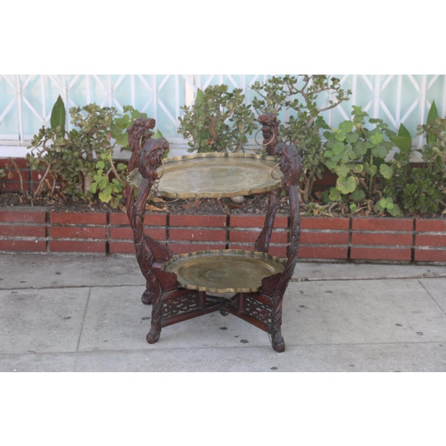 Antique Vintage Condition Tier Center Table with removable Brass Trays. The Bottom tray is small and the top one is big....