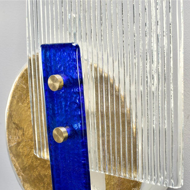 Modern Murano Glass Gold and Cobalt Wall Sconces - Pair For Sale - Image 3 of 11