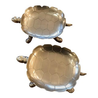 Mid-Century Modern Brass Turtle Dishes -Pair For Sale