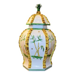 Mid Century Italian Majoica Baluster Jar, Meiselman Imports For Sale