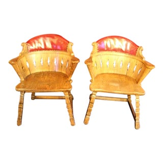 1970s Romweber Viking Oak Club Chairs - a Pair