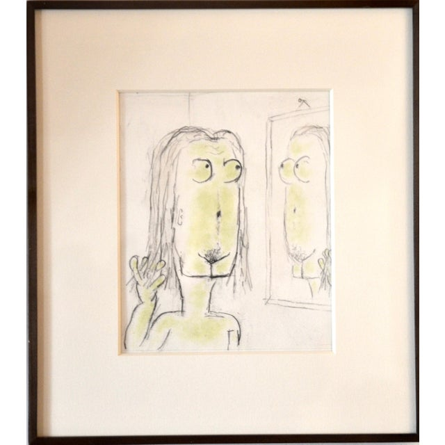 1960s William Anthony Pencil Drawing on Paper 'Magritteing the Mirror' For Sale - Image 5 of 5