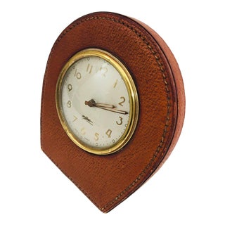 1950s Art Deco Leather and Brass French Longchamp Desk Clock For Sale