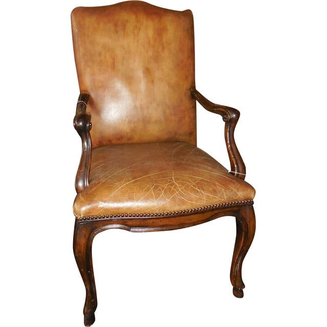 Michael Taylor Brown Leather Arm Chair - Image 1 of 3