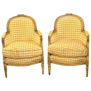 Maison Jansen Louis XVI Style Bergere Chairs in Burberry Fashion Fabric - a Pair For Sale