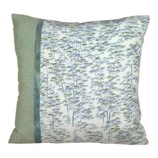 Bamboo Grove Japanese Silk Kimono Pillow Cover For Sale