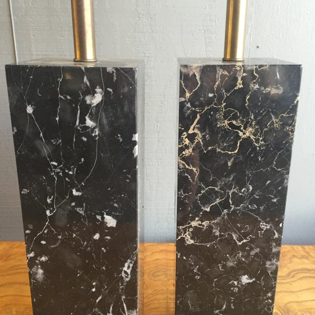 Mid Century Modern Marble Lamps by Nessen - a Pair - Image 2 of 7