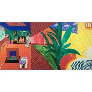 "Oversized 1988 ""Retrospective No. 3"" Hollywood Hills Home Stretched Print on Canvas by David Hockney 46"" X 24"" For Sale"