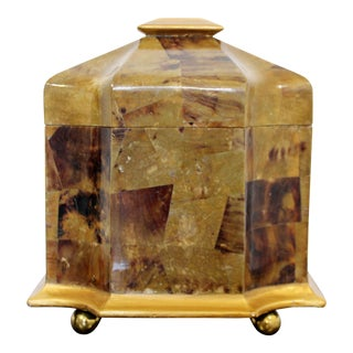 Mid Century Modern Maitland Smith Tessellated Stone Gilt Lidded Box Vessel 1970s For Sale