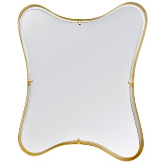 Contemporary Italian Minimalist Brass Mirror With Organic Undulating Frame For Sale