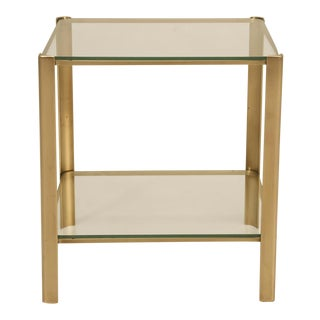French Mid-Century Modern End or Side Table in Solid Bronze For Sale