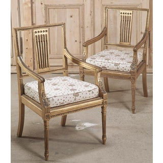 Pair 19th Century Swedish Neoclassical Gilt-Wood Armchairs Preview