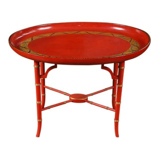 1970s Mid-Century Modern Scarlet & Gilt English Wooden Tray Coffee Table