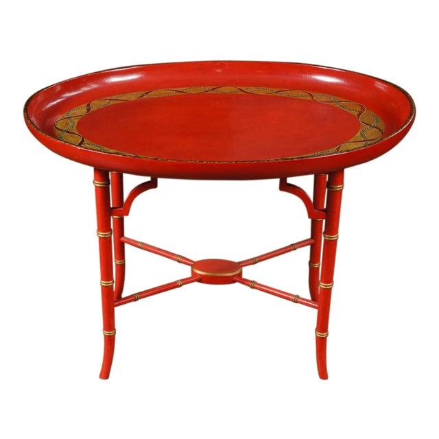 1970s Mid-Century Modern Scarlet & Gilt English Wooden Tray Coffee Table For Sale