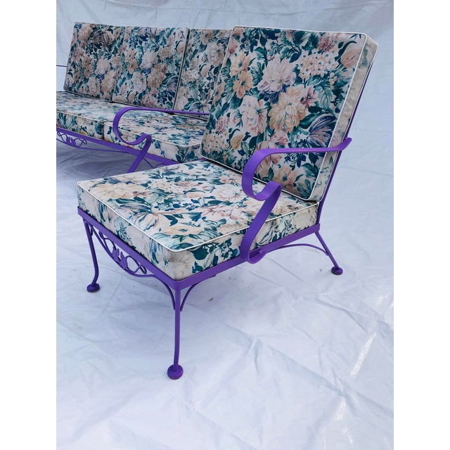Mid-Century Modern C. 1970s Fresh Violet Paint 5-Piece Outdoor Set For Sale - Image 4 of 13