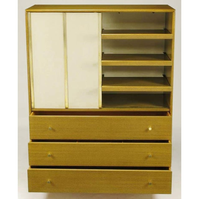 Mid-Century Modern Harvey Probber Bleached Mahogany & Ivory Leather Tall Cabinet For Sale - Image 3 of 12