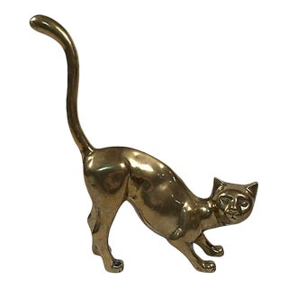 Mid 20th Century Vintage Brass Crouched Cat Figure For Sale