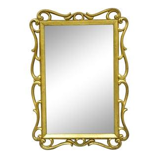 Vintage French Hollywood Regency Syroco Gold 28x19 Fancy Scroll Wall Mirror For Sale