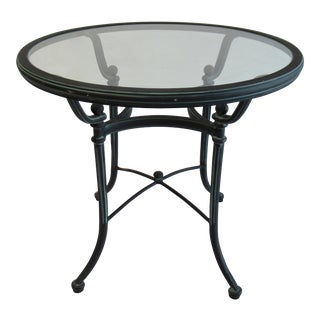 "Vintage Woodard ""Landgrave,"" Coll. Outdoor Cast Aluminum Round Dining Table For Sale"