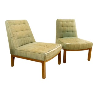 Mid-Centruy Modern Edward Wormley for Dunbar Green Slipper Chairs - a Pair For Sale