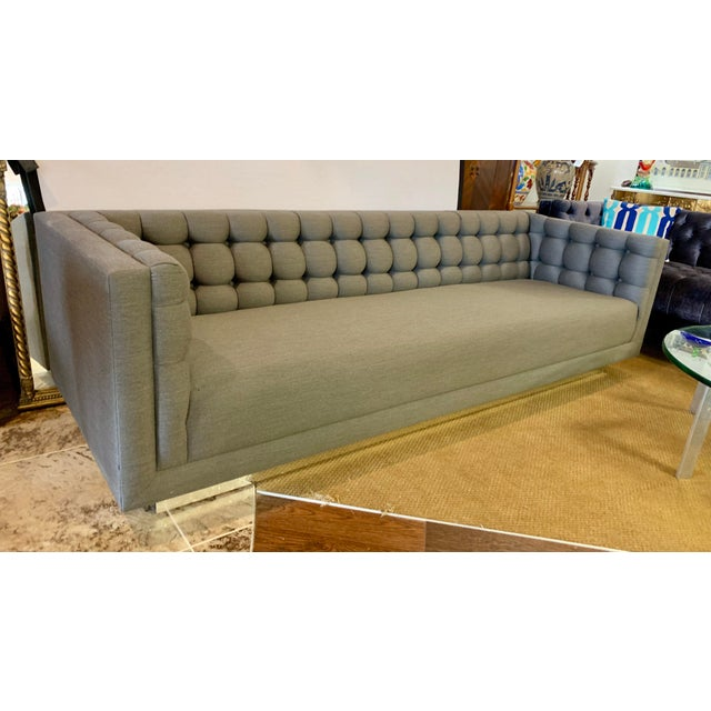 1970s Vintage Milo Baughman Chrome and Tufted Gray Sofa For Sale - Image 13 of 13
