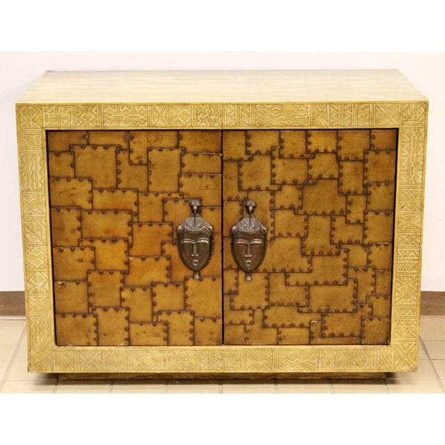 Gold 1970s James Mont Bronze Leather Asian Credenza For Sale - Image 8 of 8