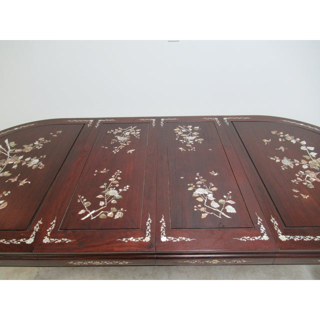 Mother-of-Pearl Vintage Rosewood Chinese Chippendale Mother of Pearl Dining Room Banquet Table For Sale - Image 7 of 11