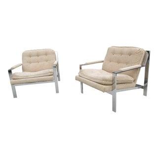 Flat Bar Chrome Lounge Chairs - a Pair