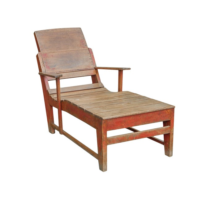 Paint Late 19th C. Primitive Painted Chaise For Sale - Image 7 of 11