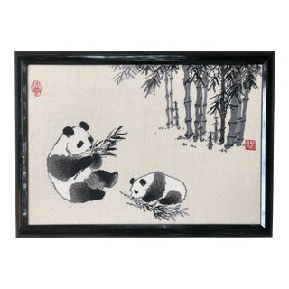 Large Vintage Chinoiserie Panda Bear and Bamboo Framed Needlepoint For Sale