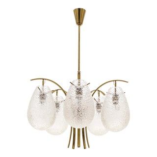 Rare Angelo Lelii Brass Chandelier With Textured Glass, Arredoluce, 1959
