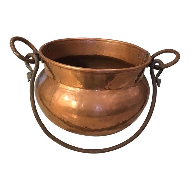 Antique Copper Cauldron Planter For Sale