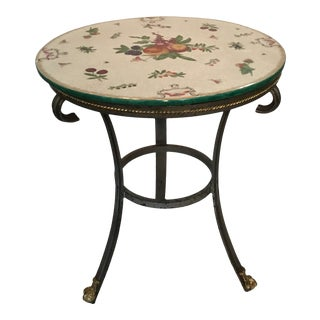 1990s Round Metal Side Table With Ceramic Top For Sale
