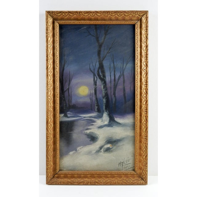 Moonlight in winter oil on artist board, circa 1920. Signed illegibly lower right corner. Displayed in period carved...