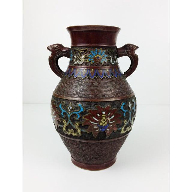 Vintage Japanese Champleve Cloisonne Bronze Vase - Image 2 of 8