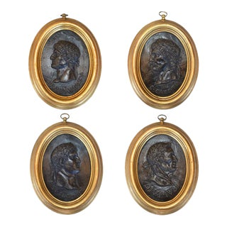 Early 20th Century Portrait Relief Plaques of Roman Emperors - Set of 4 For Sale