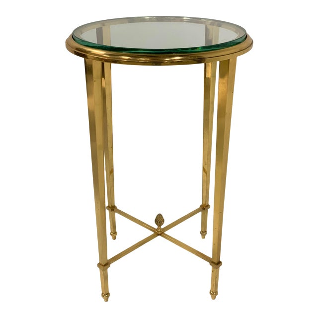 French Gilt Bronze and Glass Gueridon Table For Sale