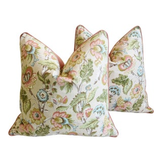 "Pastel English Tree-Of-Life Floral Feather/Down Pillows 24"" Square - Pair For Sale"