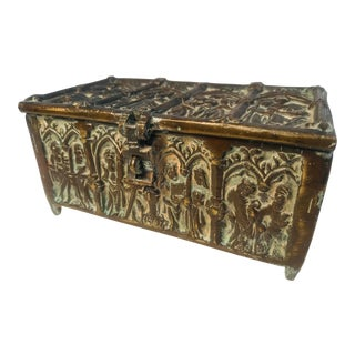 Gothic Bronze Box With Ecclesiastical Scene For Sale