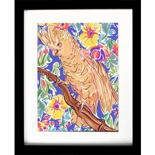 "Tropical Bird Gouache Painting, ""Casual Cockatoo"" Original by Kathleen Ney For Sale"