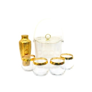 Mid-Century Chic 6-Piece Gold Barware Set | Lucite Ice Bucket, Gold Cocktail Shaker & 4 Gold Rim Glasses | Glam Cocktail Party for Four For Sale