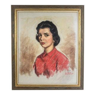 Fifties Pastel Portrait Painting - Lovely Woman For Sale
