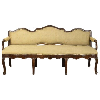 Large 18th Century Italian Upholstered Bench For Sale