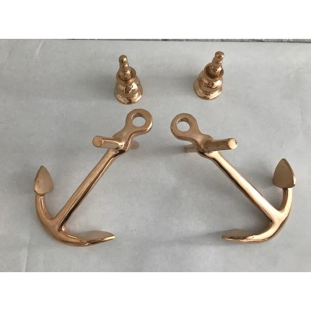 Nautical Brass Anchor Candle Holders - a Pair For Sale - Image 11 of 13