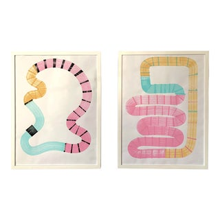 Tiger Tails Paintings - Set of 2 For Sale