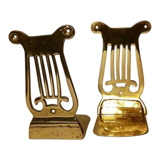 Vintage Musical Lyre Harp Brass Bookends - A Pair For Sale