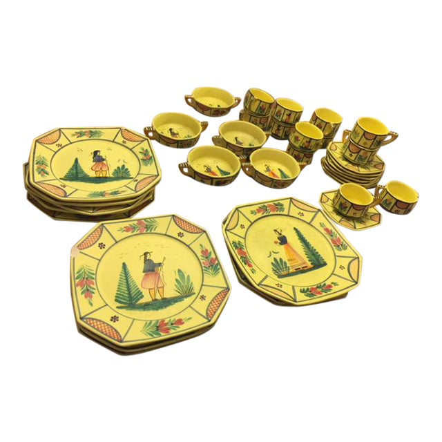 Yellow Quimper Pottery Dinnerware - 36 Pieces For Sale