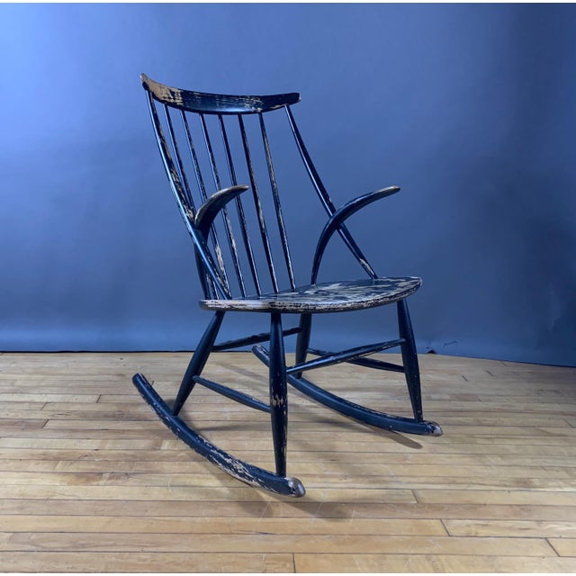 Black Illum Wikkelsø Ebonized Rocking Chair, 1958 Denmark For Sale - Image 8 of 8
